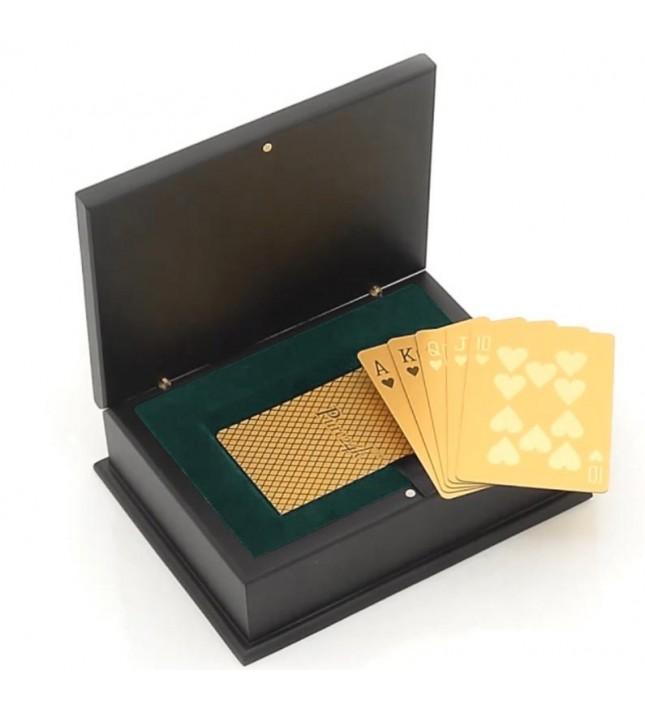 Cartes de poker trempées dans de l'or 24 carats