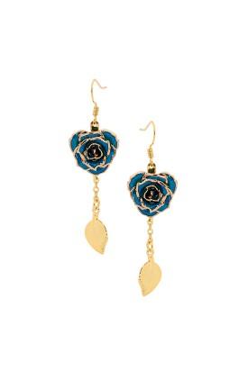 Boucles d'oreilles pétales de rose bleues. Style de feuille