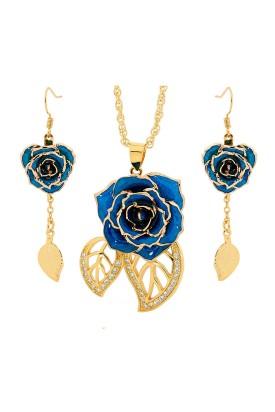 Ensemble de bijoux rose bleue. Style de feuille