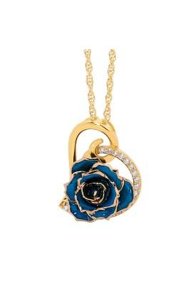 Pendentif rose bleue. Style coeur
