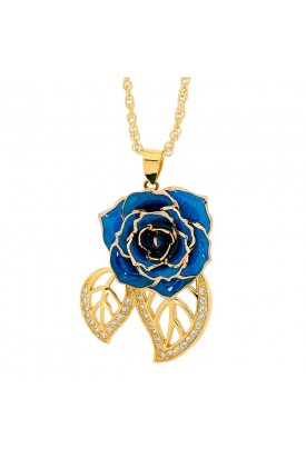 Pendentif rose bleue. Style de feuille