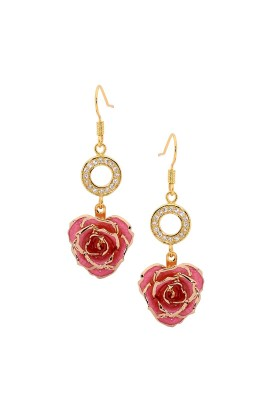 Boucles d'oreilles pétales de rose roses