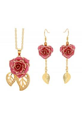 Ensemble de bijoux rose rose. Style de feuille