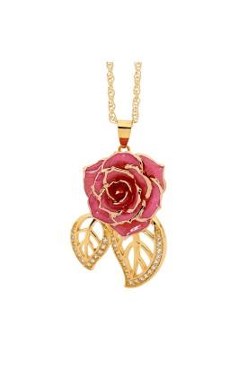 Pendentif rose rose. Style de feuille