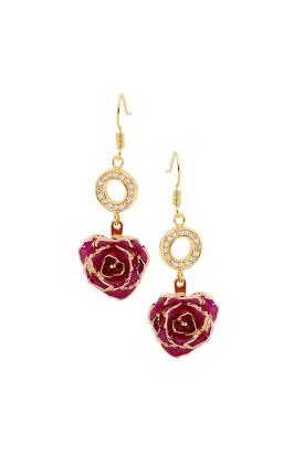 Boucles d'oreilles pétales de rose violettes