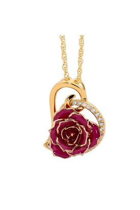 Pendentif rose violette. Style coeur