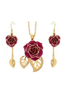 Ensemble de bijoux rose violette. Style de feuille