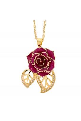 Pendentif rose violette. Style de feuille