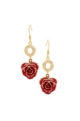 Boucles d'oreilles pétales de rose rouges