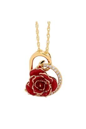 Pendentif rose rouge. Style coeur
