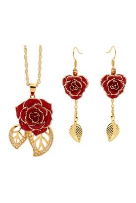 Ensemble de bijoux rose rouge. Style de feuille