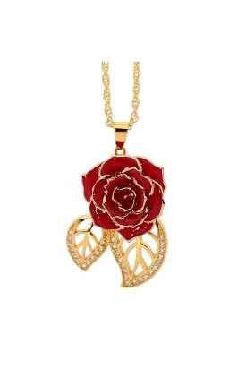 Pendentif rose rouge. Style de feuille