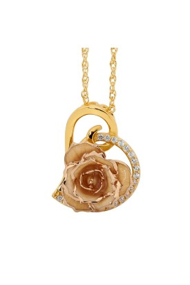 Pendentif rose blanche. Style coeur
